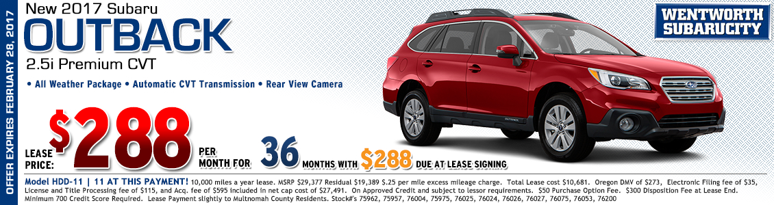 Save at Wentworth Subaru in Portland, OR with this great lease offer on a new 2017 Subaru Outback 2.5i Premium