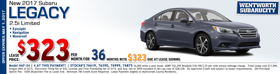 2017 Subaru Legacy 2.5i Limited Low Payment Lease Special in Portland, OR