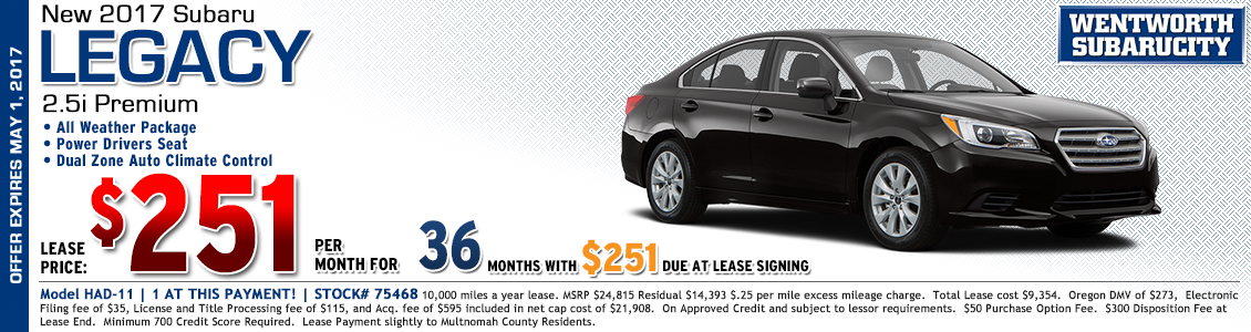New 2017 Subaru Legacy 2.5i Premium Lease Special in Portland, OR