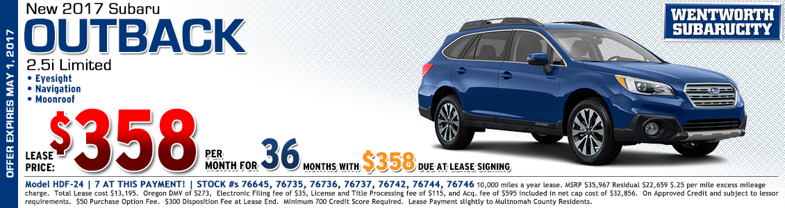 New 2017 Subaru 2.5i Outback Limited Lease Special in Portland, OR