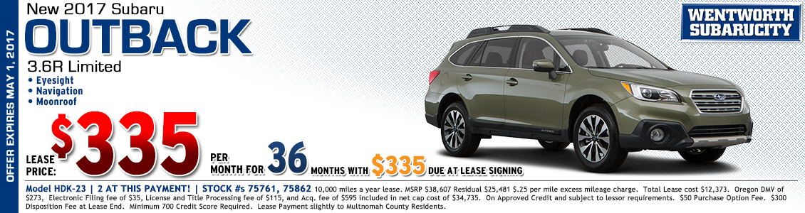 New 2017 Subaru Outback 3.6R Limited Low Payment Lease Special in Portland, OR
