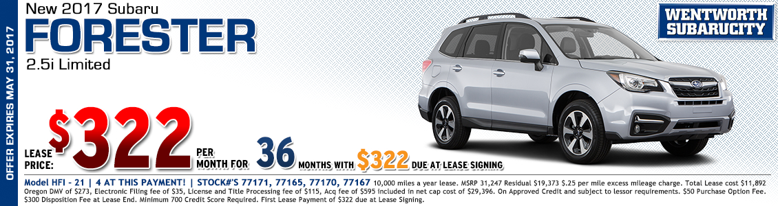 2017 Subaru Forester Limited Lease Special in Portland, OR