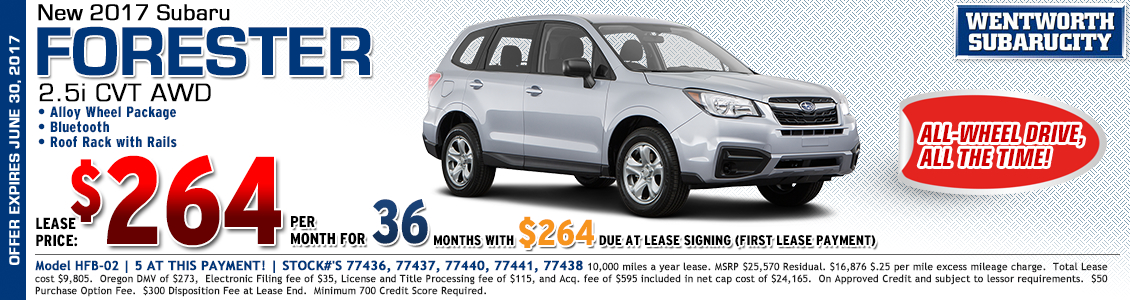 Lease a new 2017 Subaru Forester 2.5i with CVT automatic from Wentworth Subaru in Portland, OR