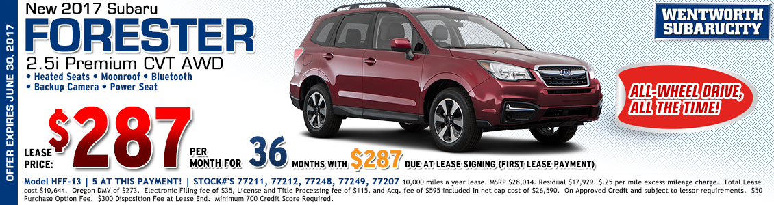 Great low payment lease offer on a new 2017 Subaru Forester 2.5i Premium in Portland, OR