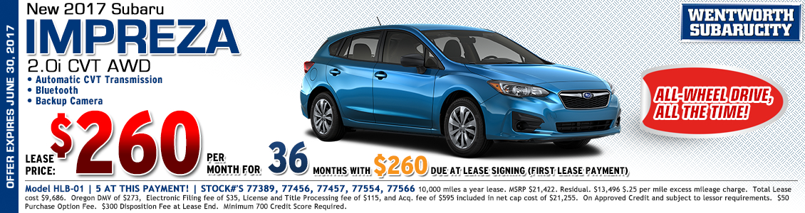 Lease the redesigned new 2017 Subaru Impreza and save in Portland, OR