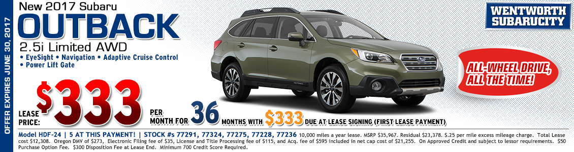 Lease the luxurious new 2017 Subaru Outback Limited for less from Wentworth Subaru in Portland, OR