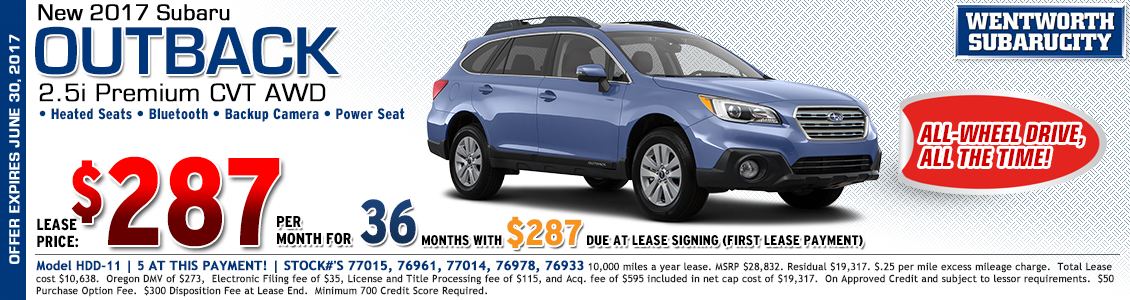 Save when you lease the rugged new 2017 Subaru Outback Premium in Portland, OR
