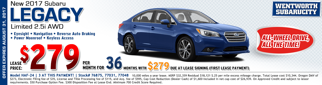 2017 Subaru Legacy Limited 2.5i Lease Special in Portland, OR