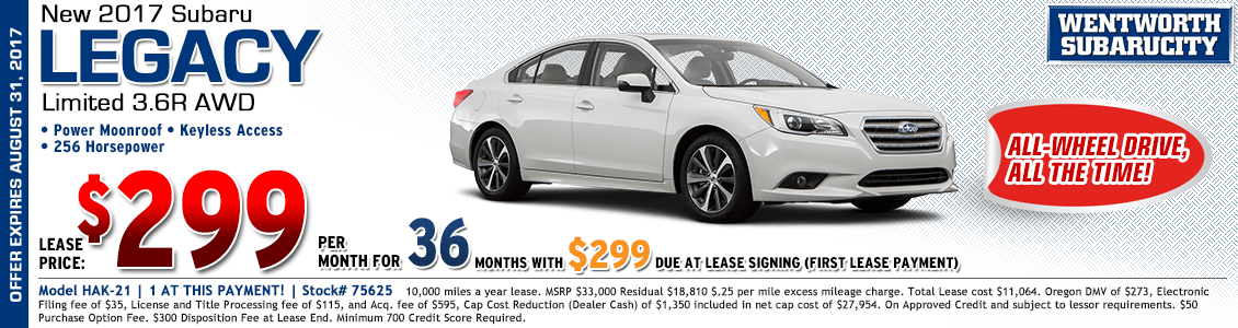 2017 Subaru Legacy Limited 3.6R Low Payment Lease Special in Portland, OR