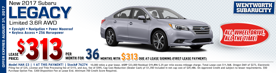 2017 Subaru Legacy Limited 3.6R Lease Special in Portland, OR