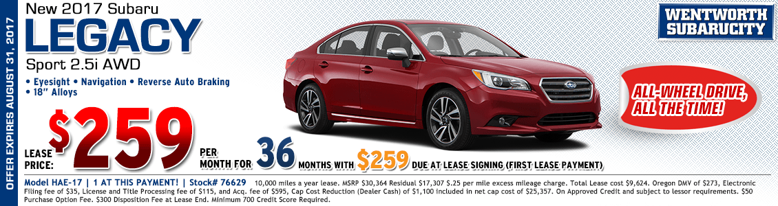 2017 Subaru Legacy Sport 2.5i Low Payment Lease Special in Portland, OR