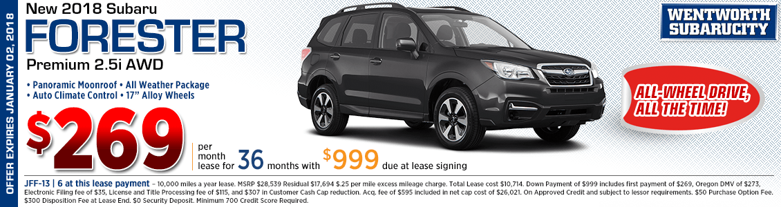 2018 Subaru Forester Premium 2.5i low monthly lease special in Portland, OR