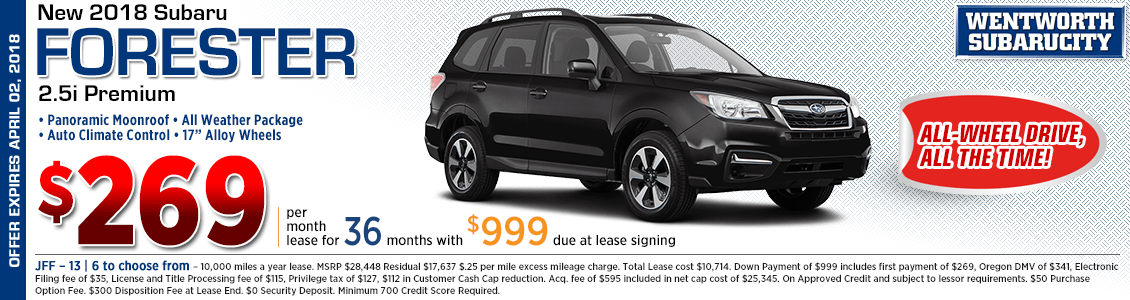 2018 Subaru Forester Premium 2.5i lease special in Portland, OR