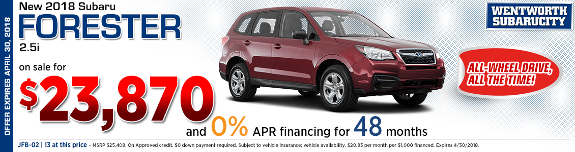 Get zero percent financing on a 2018 Subaru Forester 2.5i at Wentworth Subaru in Portland, OR