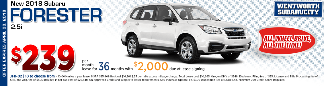 Lease a 2018 Subaru Forester 2.5i for a low monthly payment in Portland, OR