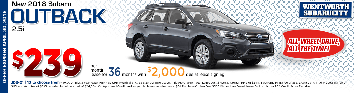 2018 Subaru Outback 2.5i low payment lease special in Portland, OR