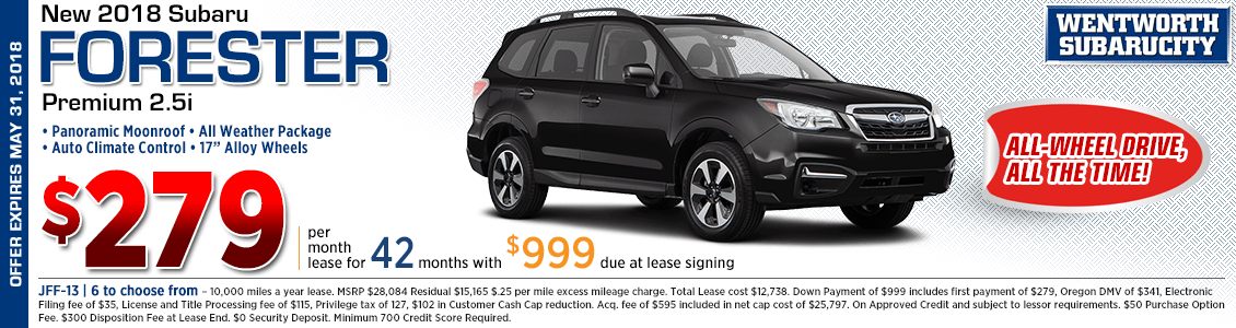 2018 Subaru Forester Premium 2.5i Low Payment Lease Special at Wentworth Subaru in Portland, OR