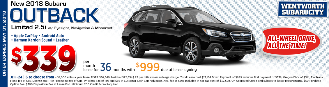2018 Subaru Outback Limited 2.5i w/ Eyesight, Navigation and Moonroof Low Payment Lease Special at Wentworth Subaru in Portland, OR