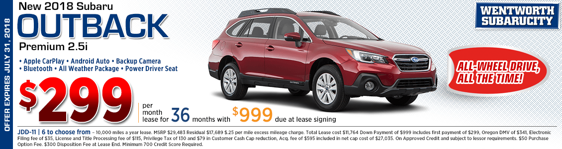 2018 Subaru Outback Premium 2.5i Lease Special in Portland, OR