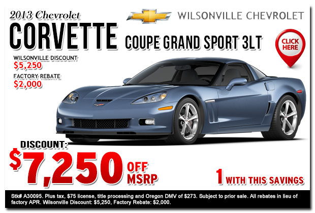 2013 Chevrolet Corvette Sales Special Portland, Oregon