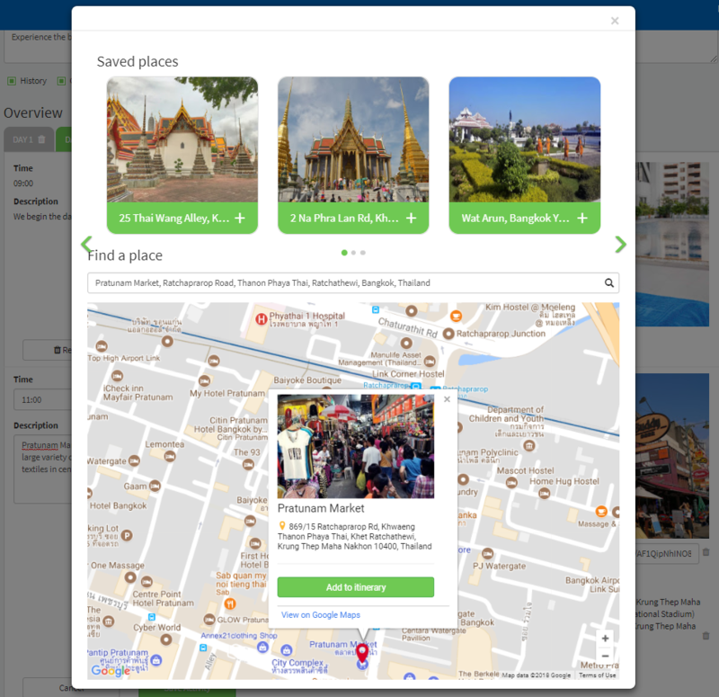 Itinerary Builder Map Places