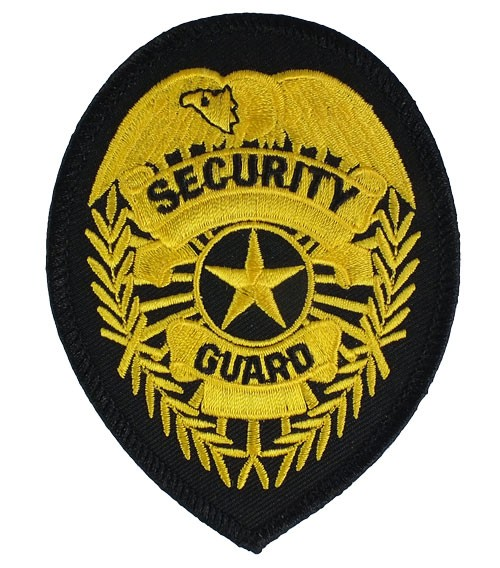 Security Guard Badge Patch (Gold on Black)
