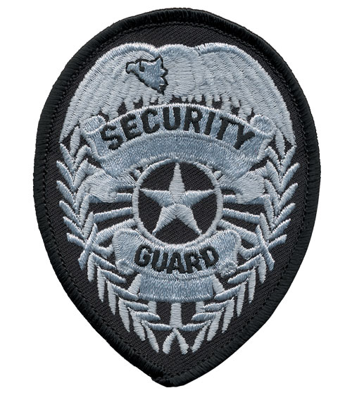 Security Guard Badge Patch (Silver on Black)