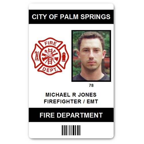 Fire Department EMT PVC ID Card in Black