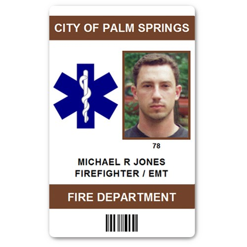 Fire Department EMT PVC ID Card in Brown