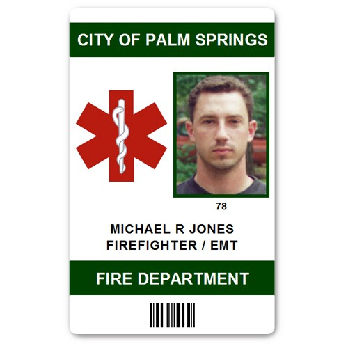 Fire Department EMT PVC ID Card in Green