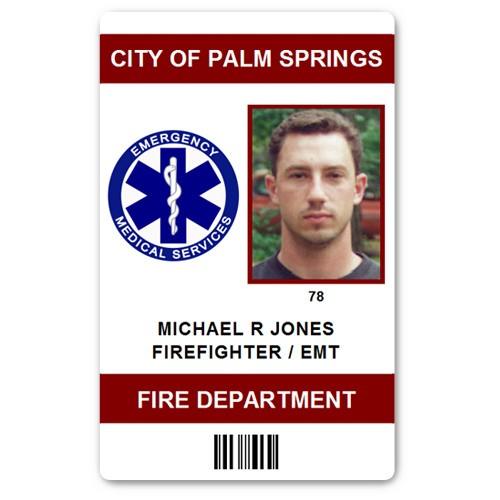 Fire Department EMT PVC ID Card in Maroon