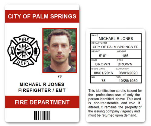 Fire Department EMT PVC ID Card