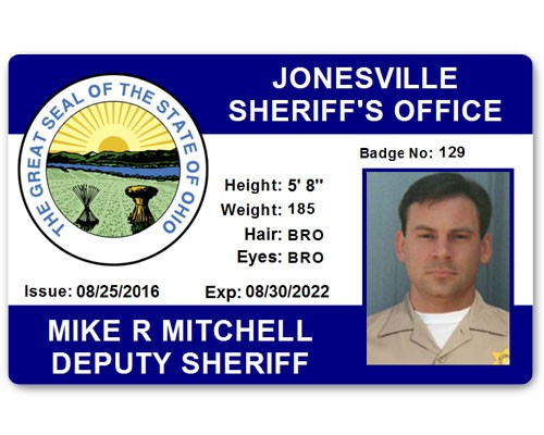 Sheriff's Department PVC ID Card in Blue