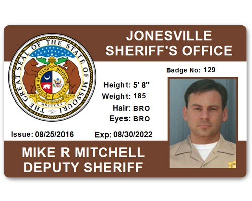 Sheriff's Department PVC ID Card in Brown
