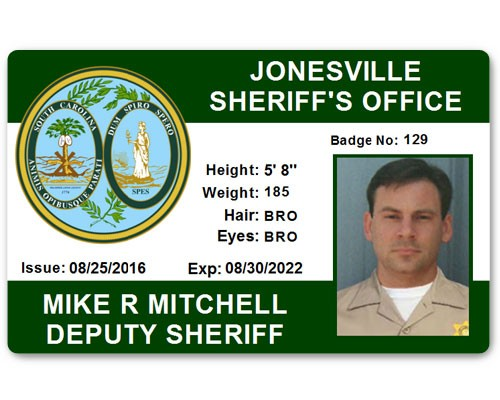 Sheriff's Department PVC ID Card in Green