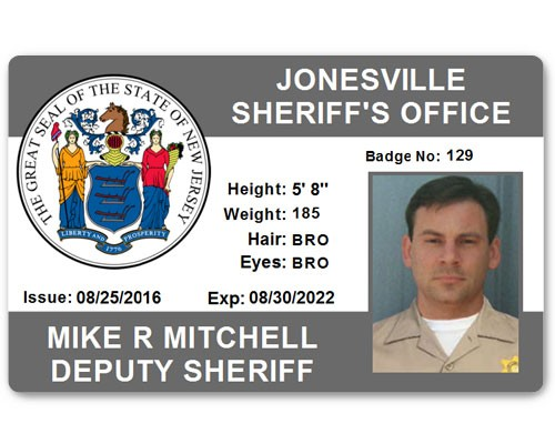 Sheriff's Department PVC ID Card in Grey