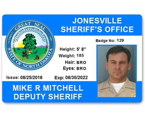 Sheriff's Department PVC ID Card in Light Blue