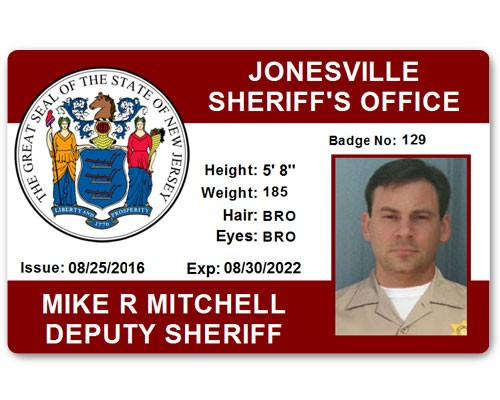 Sheriff's Department PVC ID Card in Maroon