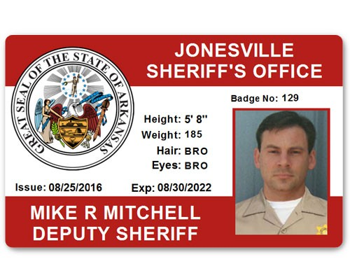Sheriff's Department PVC ID Card in Red