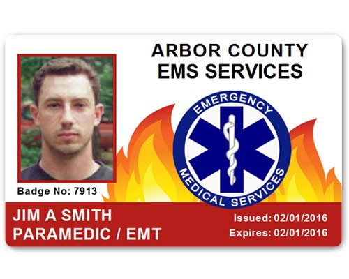 Fire Department EMS PVC ID Card in Red