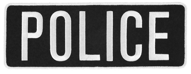 Large Velcro Police Patch (White on Black)