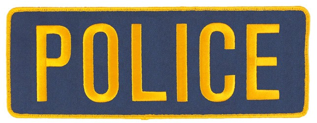 Large Velcro Police Patch (Gold on Navy)