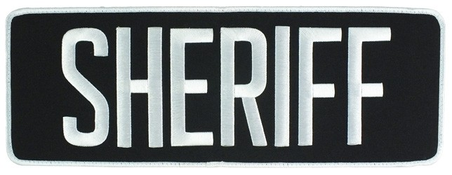 Large Velcro Sheriff Patch (White on Black)