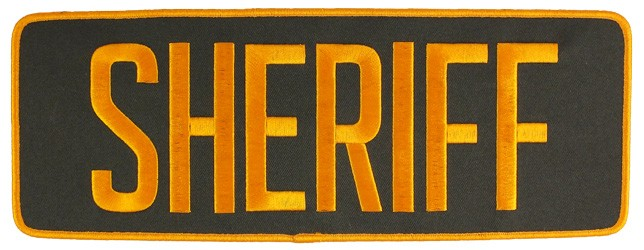 Large Velcro Sheriff Patch (Gold on Brown)