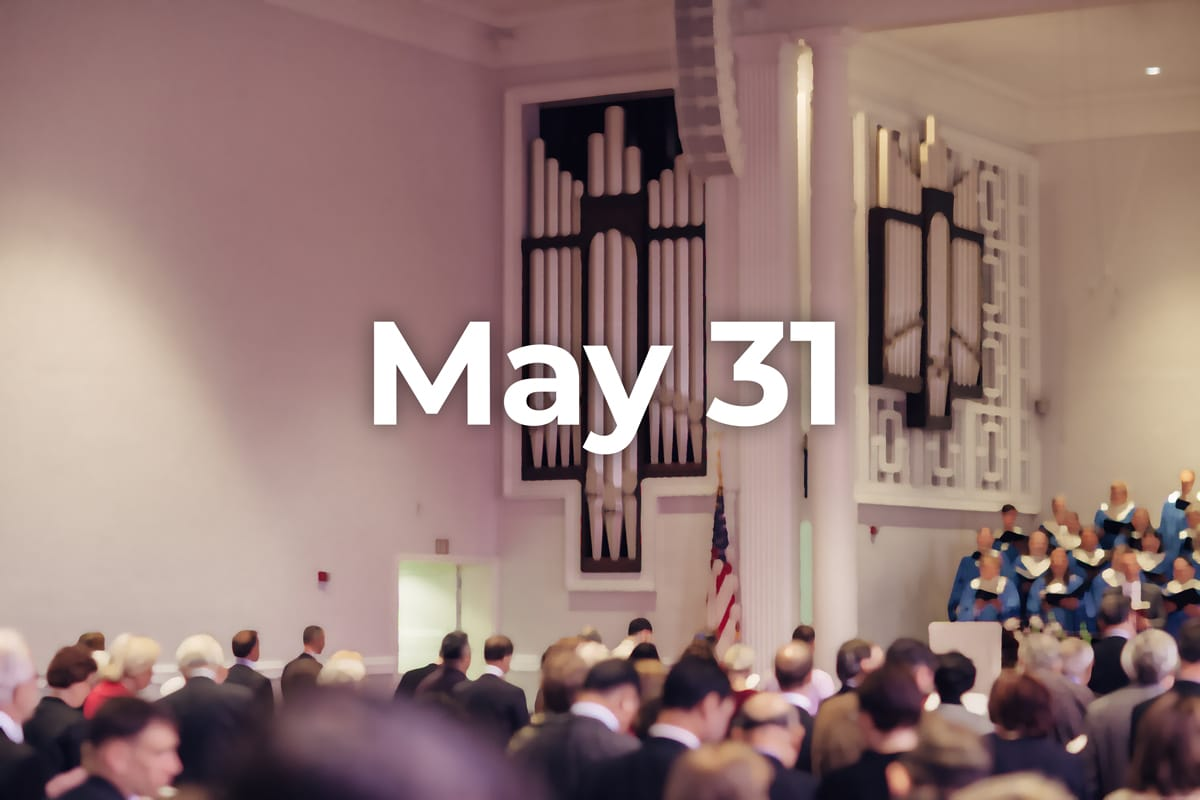 photo of sanctuary with May 31 date superimposed