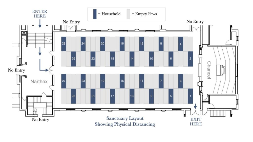 diagram of sanctuary space showing physical distancing measures