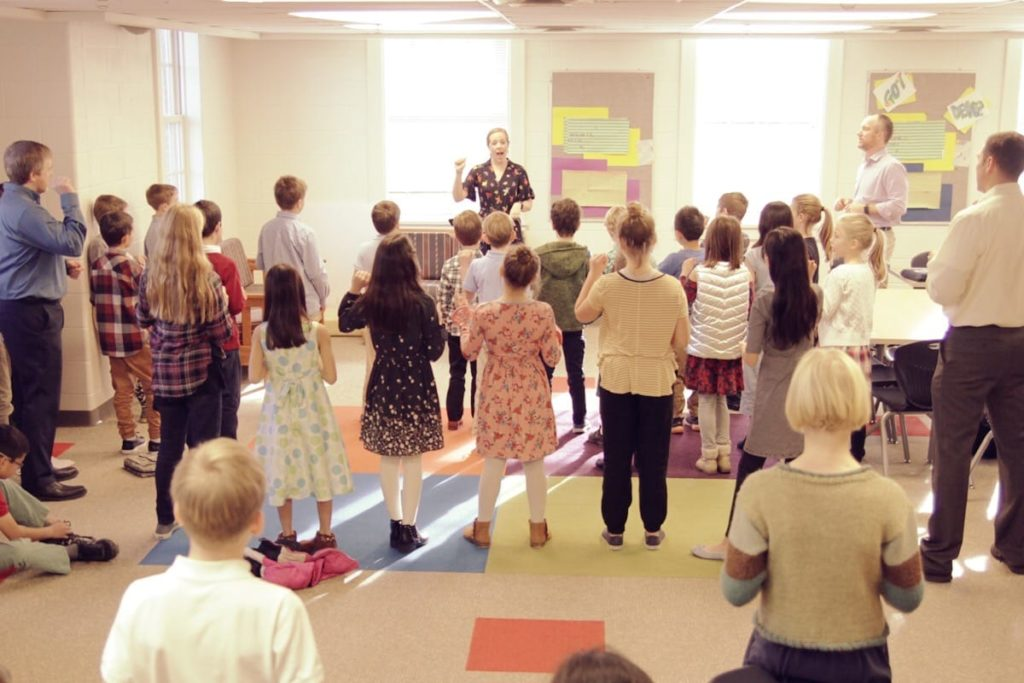 children learning catechism