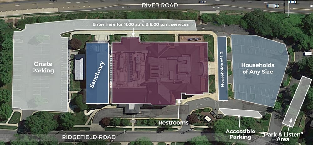 map of church building and parking lots