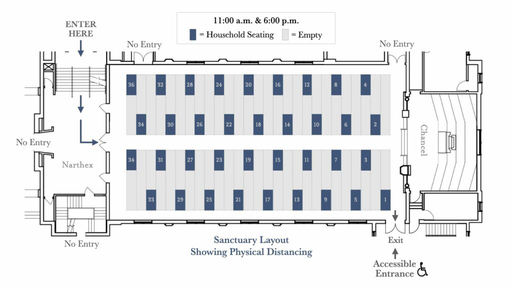 sanctuary diagram with physical distancing
