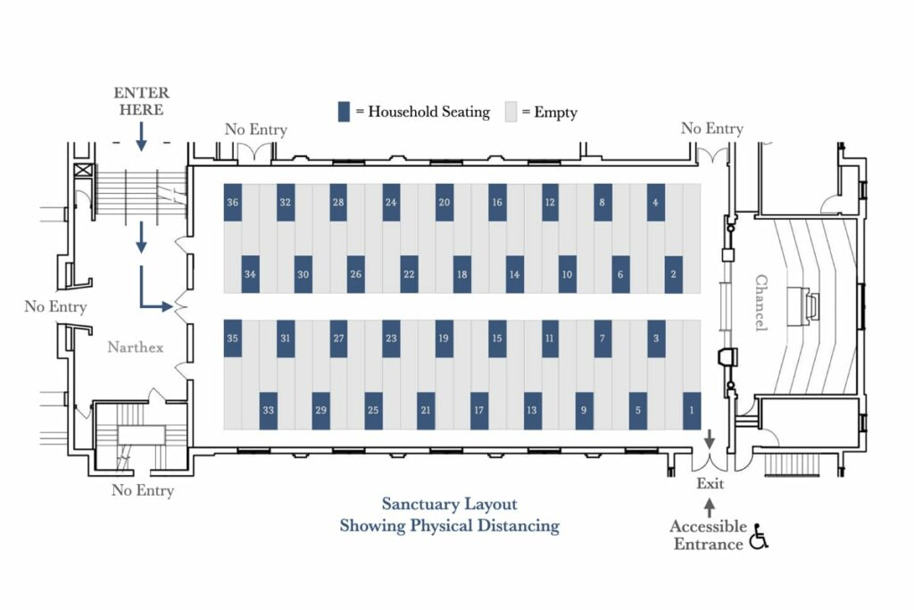 Sanctuary layout with physical distancing